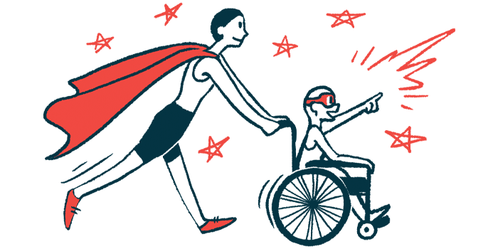 rare disease clinical trial participants | Rett Syndrome News | Illustration of woman in cape pushing child in wheelchair