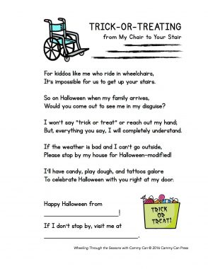 special needs at Halloween | Rett Syndrome News | A copy of a flyer that Jacqueline Babiarz made to make her neighbors aware of her daughter with Rett syndrome during Halloween