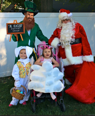 special needs at Halloween | Rett Syndrome News | Columnist Jacqueline Babiarz and her family, husband, Billy, and children, Ryan and Cammy, are dressed up as Santa, a leprechaun, the Easter Bunny and tooth fairy for Halloween.